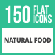 150 Natural Food Flat Icons