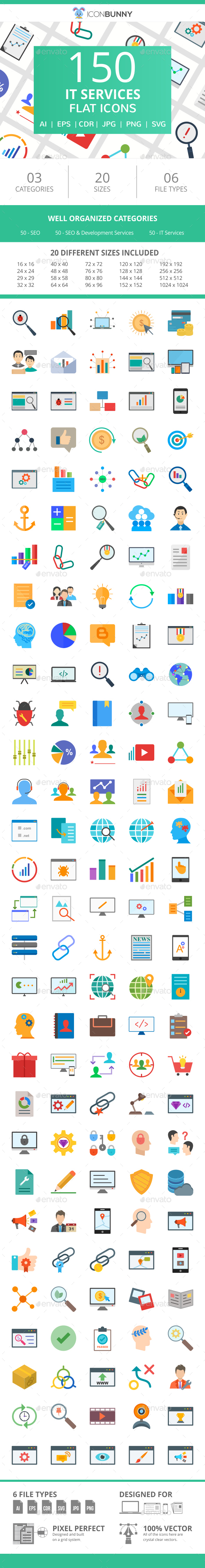 150 IT Services Flat Icons - Icons