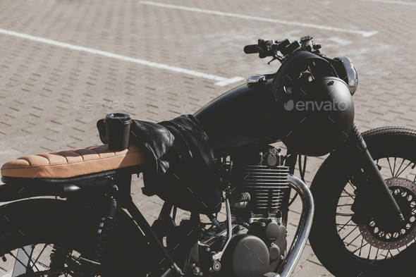 Cup of coffee on motorcycle - Stock Photo - Images