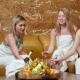 Three Women in Towel Relax in the Sauna and Drink Champagne - VideoHive Item for Sale