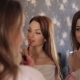 Reflection in Mirror Two Girls Who Dye Their Lips. - VideoHive Item for Sale