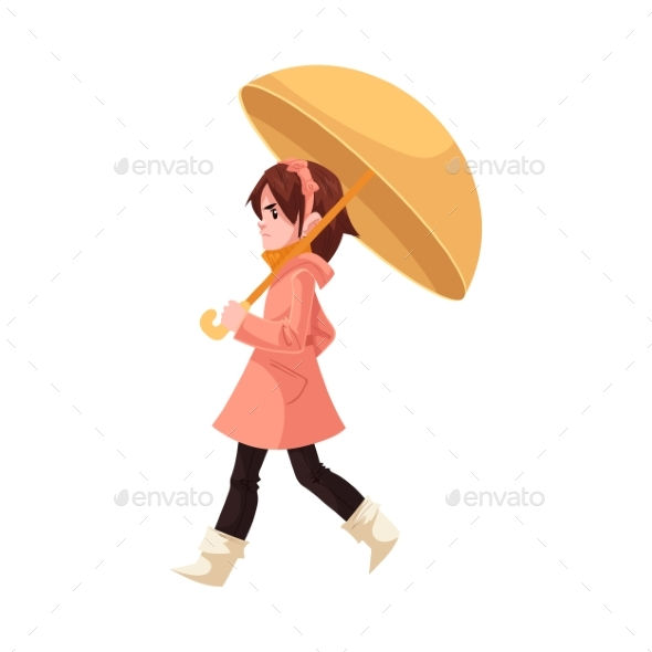 Little Kid Girl Under Umbrella in Coat and Rubber - Landscapes Nature