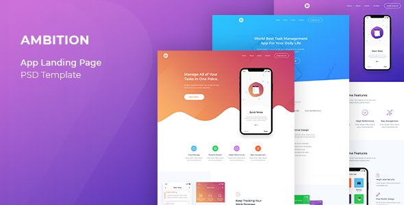 Ambition - App Landing Page - Technology PSD Templates