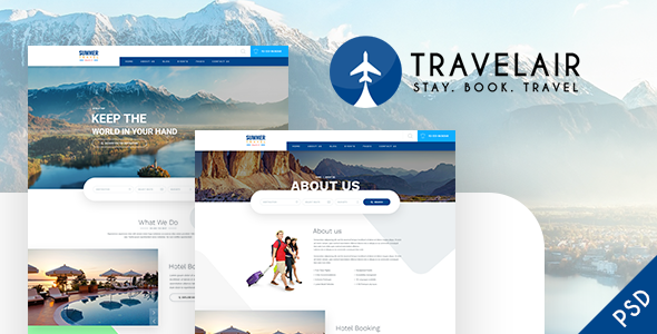 Travelair - Travel & Tours Psd Template - Travel Retail