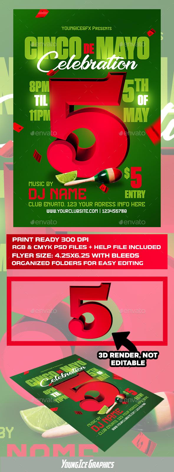 Cinco De Mayo Flyer Template - Clubs & Parties Events