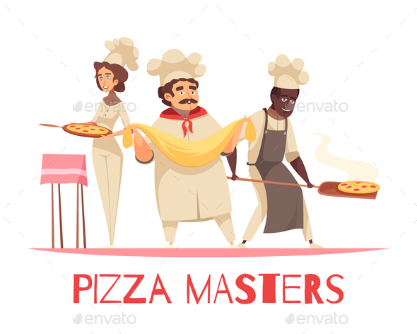 Professional Cooking Pizza Composition - People Characters