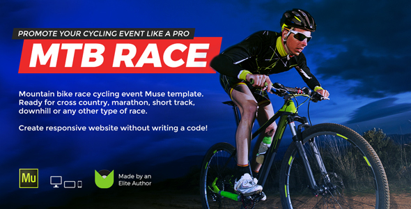 MTB Race - Mountain Bike Racing Marathon Cycling Event Website Muse Template