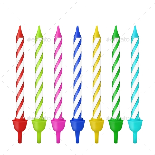 Vector Realistic Different Birthday Party Candles - Birthdays Seasons/Holidays