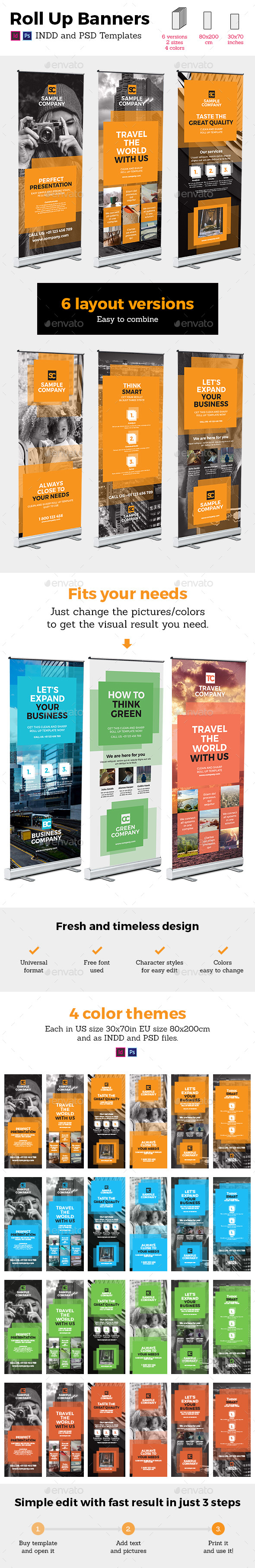 Square Style Rollup Stand Banner Display 24x InDesign and Photoshop Template - Signage Print Templates