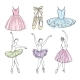 Sketch Vector Pictures of Different Ballet Dancers
