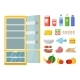 Empty Refrigerator and Different Food. Vector Flat