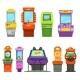 Vector Colored Illustrations of Games Machines