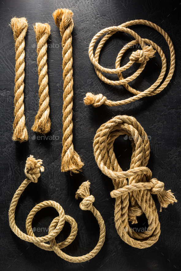 ship rope at black - Stock Photo - Images