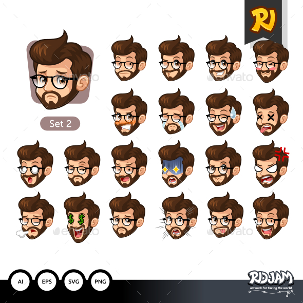 The Second Set of Bearded Hipster Facial Emotions with Glasses - People Characters