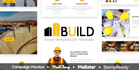 Build – Responsive Email Template 30+ Modules – StampReady Builder + Mailster & Mailchimp Editor