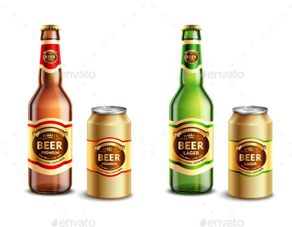 Realistic Beer Packagings Set - Backgrounds Decorative