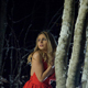 Scared Woman Running in Snowy Woods at the Night - VideoHive Item for Sale