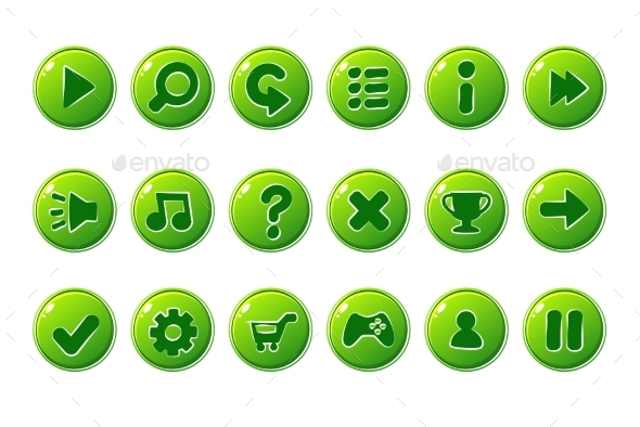 Glossy Green Buttons for All Kinds of Casual - Web Icons