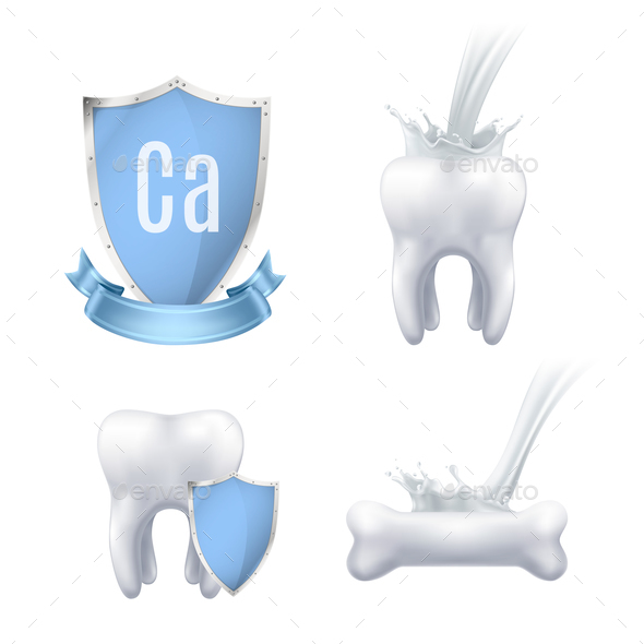 Calcium Protection Realistic Set - Health/Medicine Conceptual