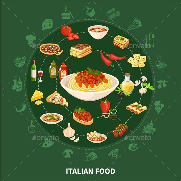 Italian Cuisine Round Set - Food Objects