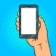 Smart Phone White Screen Pop Art Vector