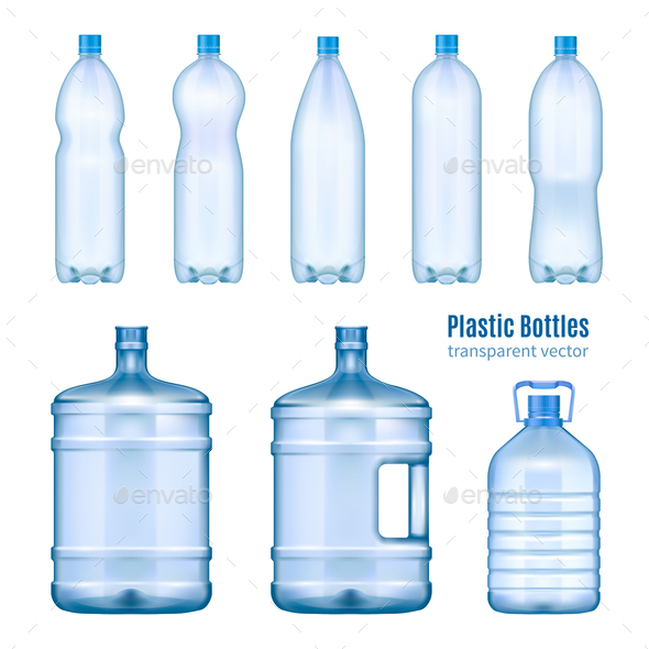 Plastic Water Bottles Realistic Set - Miscellaneous Vectors