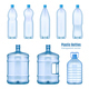 Plastic Water Bottles Realistic Set