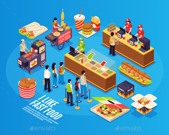 Fast Food Isometric Design Concept - Miscellaneous Vectors