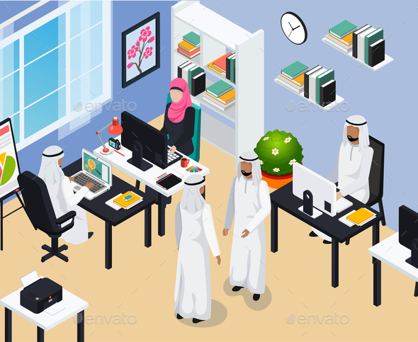 Saudi People In Office Composition - Business Conceptual