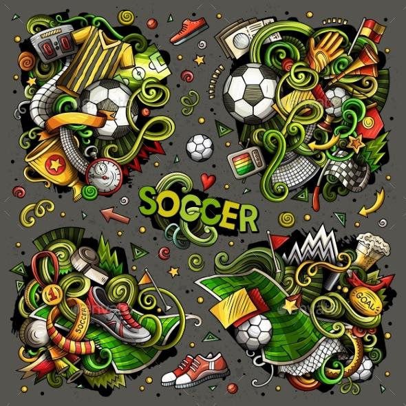 Vector Doodles Cartoon Set of Football