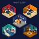 Night Sleep Isometric Compositions Set
