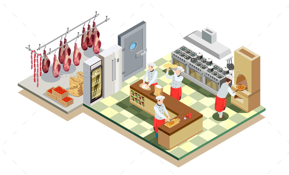 Restaurant Kitchen Isometric Composition
