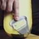 Cheese Sommelier in the Store Cuts a Piece of Cheese. Knife for Cheese. Not a Mature Gouda. . - VideoHive Item for Sale