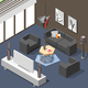 Futuristic Lounge Interior Isometric Background