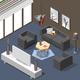 Futuristic Lounge Interior Isometric Background