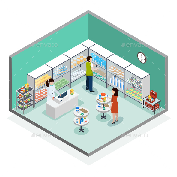 Pharmacy Dispensary Drugstore Isometric Composition