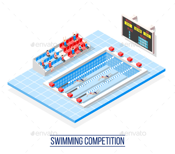 Swimming Competition Isometric Composition