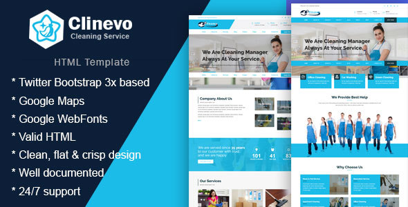Image of Clinevo - Cleaning Services HTML5 Bootstrap4 Responsive Template