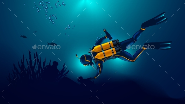 Scuba Diver Exploring the Seabed. Underwater - People Characters