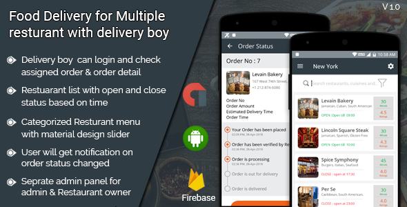 Food Delivery for multiple restaurant with delivery boy android application            Nulled