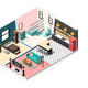Isometric Apartment Interior Background