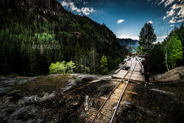 Remnant of the Old Mine Ouray District Mt Monarch Colorado USA M - Stock Photo - Images