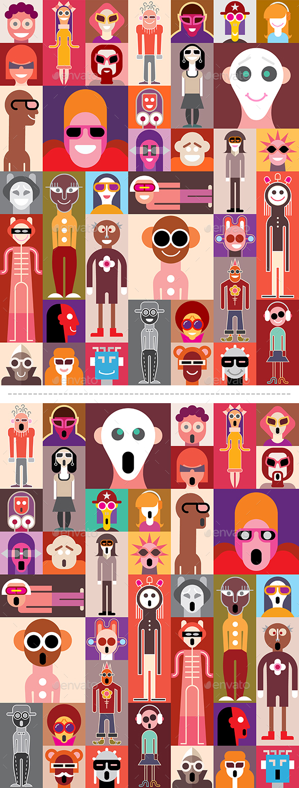 People Portraits Pop Art Collage