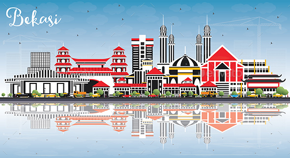 Bekasi Indonesia City Skyline with Color Buildings, Blue Sky and Reflections