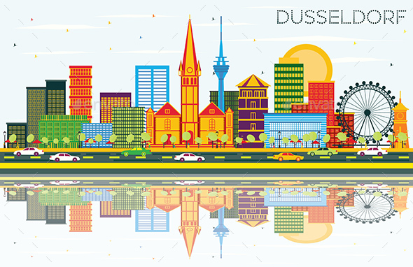 Dusseldorf Skyline with Color Buildings, Blue Sky and Reflections