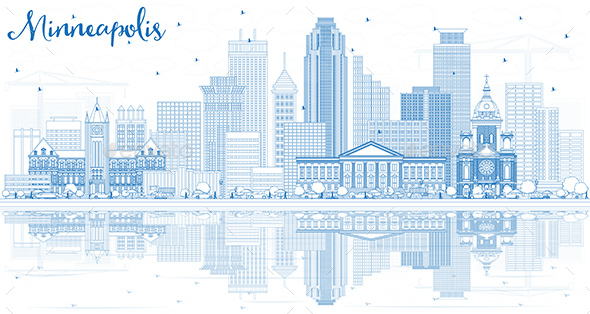 Outline Minneapolis USA Skyline with Blue Buildings and Reflections - Buildings Objects