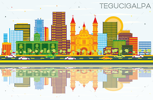 Tegucigalpa Honduras City Skyline with Color Buildings, Blue Sky and Reflections