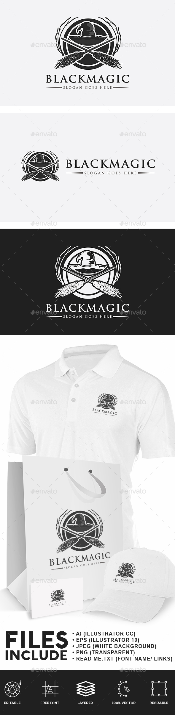 Black Magic Witches Logo - Objects Logo Templates