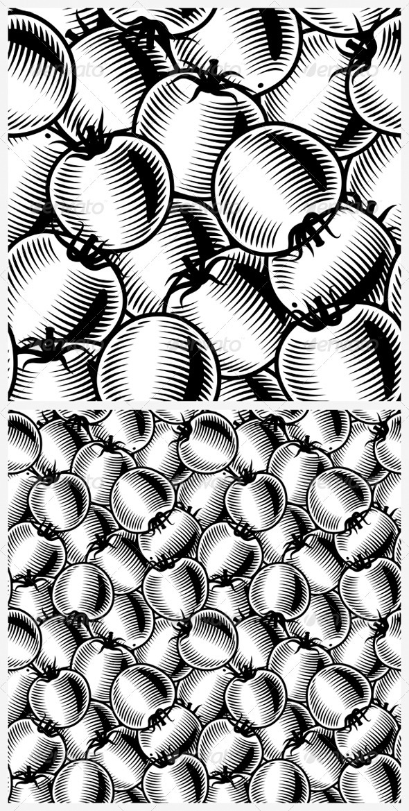 Seamless Tomato Background Black And White - Food Objects