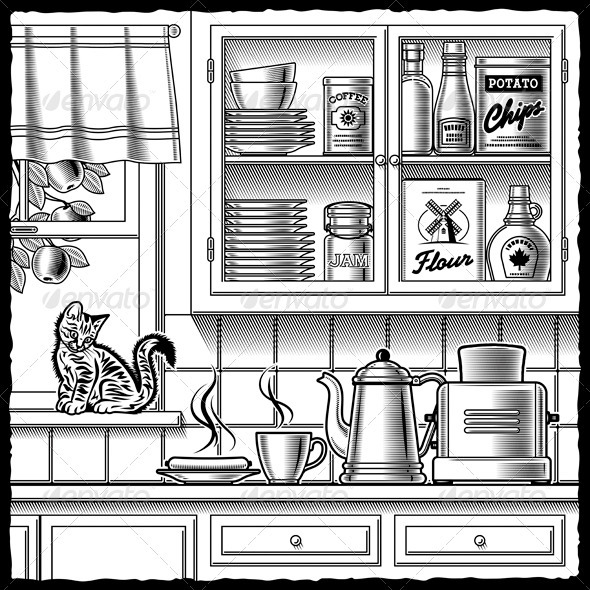 Retro Kitchen Black And White - Food Objects